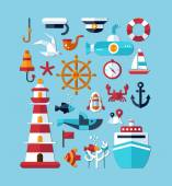 Set of vintage flat design modern nautical, marine icons — Vector de stock