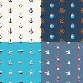 Illustrations of vintage flat design modern nautical, marine pat — Stock Vector