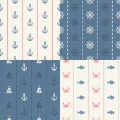 Illustration of vintage flat design modern nautical, marine patt — Stock Vector