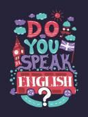 Nowoczesny projekt płaski hipster ilustracja z frazy Czy mówisz po angielsku — Wektor stockowy
