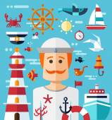 Illustration of vintage flat design modern nautical, marine comp — Stock Vector