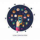 Modern flat design illustration of people social network communi — Vector de stock
