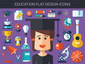 Set of modern education flat design icons — Stockvektor