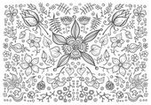 Illustration of hand drawn vintage floral retro elements — Stockvector