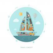 Illustration des Reise-flaches Design-Postkarte mit Symbolen — Stockvektor