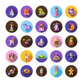 Set of fairy tales flat design magic icons and elements — Vector de stock