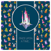 Illustration of postcard with fairy tales flat design magic icons — Stock Vector