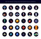 Set of space icons and infographics elements — Stock Vector