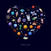 Heart flat design composition of space icons and infographics elements — Stock Vector
