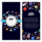 Flat design illustration of space icons and infographics elements — Stock Vector