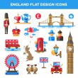 Set of flat design England travel icons, infographics elements with landmarks and famous London, United Kingdom symbols — Stock Vector #75875679