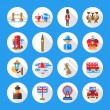Set of flat design England travel icons, infographics elements with landmarks and famous London, United Kingdom symbols — Stock Vector #80075694