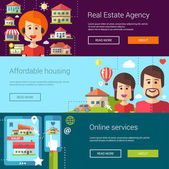 Set of real estate flat modern illustrations, banners, headers with icons, buildings and characters. Flyers for your design — Stock Vector