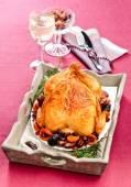 Roast turkey with dried fruit — Stock Photo