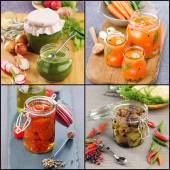 Collage preserved food — Stock Photo