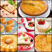 Collage Baking Cake — Stock Photo