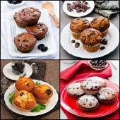 Stock-photo-collage-of-muffins-with-chocolate-berry-fruit-mint — Stock Photo