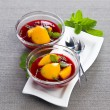 Summer cold soup of peach with raspberry and mint — Stock Photo #56217189