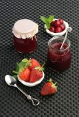 Marmalade of red fruits strawberries and cherries — Stock Photo