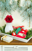 Christmas decor gifts and decorations — Stock Photo