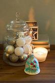 Decoración de navidad con velas — Foto de Stock