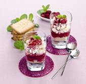 Cottage cheese with raspberries — Stock Photo