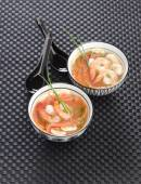 Vegetable soup with prawns — Stock Photo
