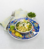 Cous cous with feta — Stock Photo