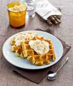 Viennese waffles with cream — Stock Photo