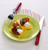 Polenta with two tomatoes — Stockfoto