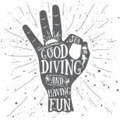 Diving_underwater_scuba_sign_ok — Vettoriale Stock