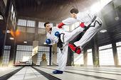 Karate women in action — Fotografia Stock