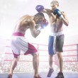Постер, плакат: Two professionl boxers are fighting on arena