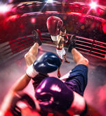 Professionl boxer is making hard knokout — Stock Photo