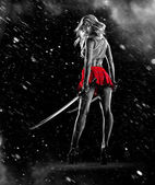 Young sexy girl is standing with the swords — Stock Photo
