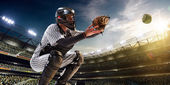 Professional baseball player in action — Foto de Stock