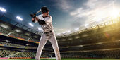Professional baseball player in action — Foto Stock