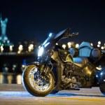 Black trike standing on the night street — Stock Photo #71425041