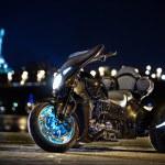 Black trike standing on the night street — Stock Photo #71425045