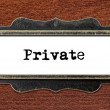 Private - file cabinet label — Stock Photo #60260777