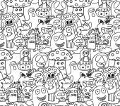 Funny monsters seamless vector pattern — Stock Vector
