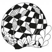 Streszczenie zentangle monochromatyczne ornament — Wektor stockowy