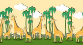 Seamless pattern with cartoon giraffes — Stock Vector