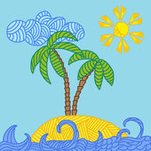 Tropical island with palms and waves — Stock Vector