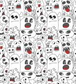 Doodle monsters seamless pattern. — 图库矢量图片