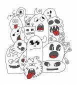 Funny cartoon monsters card — Stock Vector