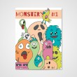 Funny cartoon monsters poster — Stock Vector #72905759