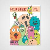 Funny cartoon monsters poster — Stock Vector