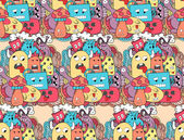 Doodle monsters seamless pattern. — Stock Vector
