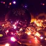 Christmas balls and electric garland. — Stock Photo #60870453